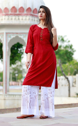 85d6012edb Latest Trend Red Kurti Palazzo Suits Online India