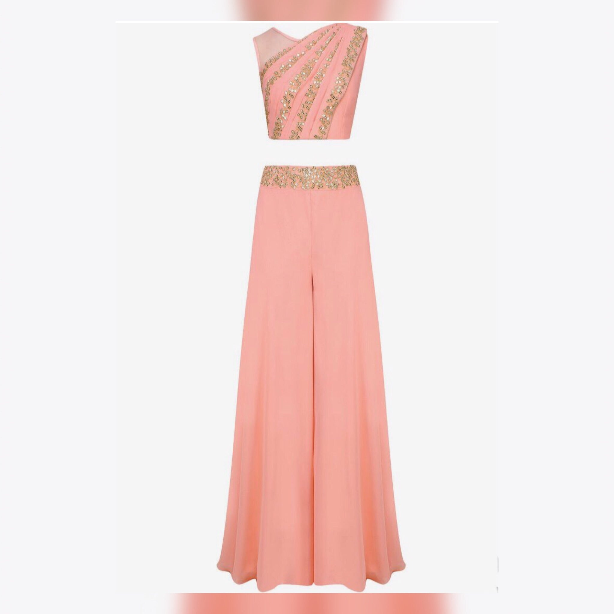 Peach Georgette Embroidered Indian Fashion Outfit Online Shopping