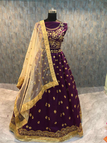 Purple Embroidered Banglori Silk Buy Online Ghagra Choli
