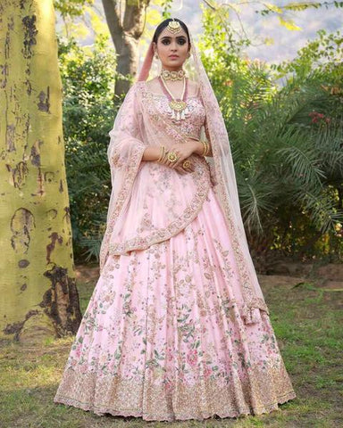 Light Pink Silk Beautiful Bollywood Wedding Lengha Choli Online