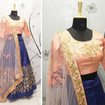 Navy Blue Silk Embroidery Party Wear Lehenga Cholis