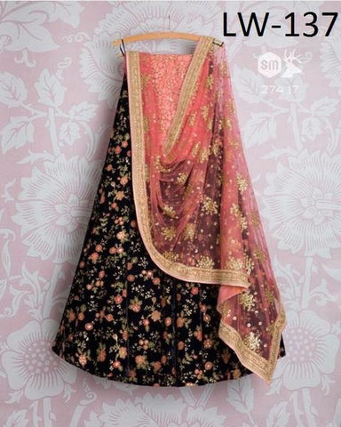 Black Taffeta Silk Embroidery Bollywood Lenghas Choli Design