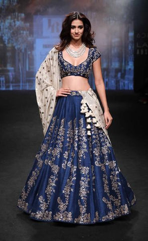Stylish Navy Blue Silk Latest Lehenga Choli Online Shopping