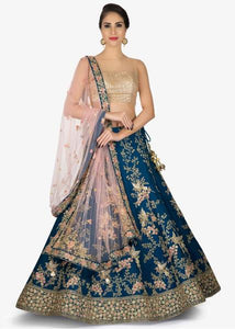 Teal Mulberry Silk Embroidery Party Wear Lengha Cholis