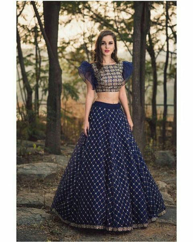 Navy Blue Malai Satin Fancy Lehenga Choli For Wedding