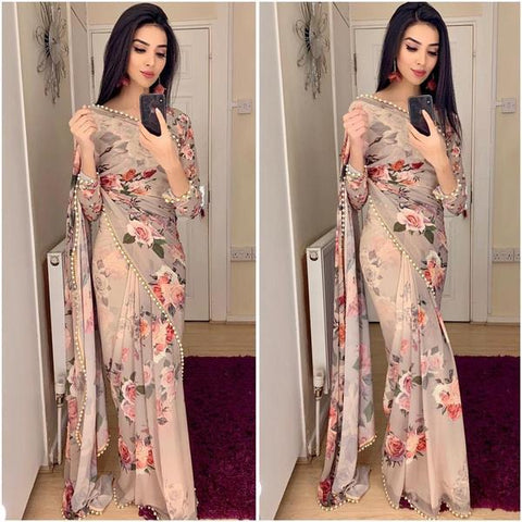 Beige Georgette Floral Print Saree Buy Indian Clothes Online