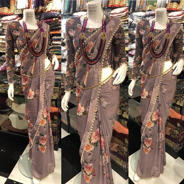 Taupe Georgette Printed Fancy Sarees Online Shopping With Price