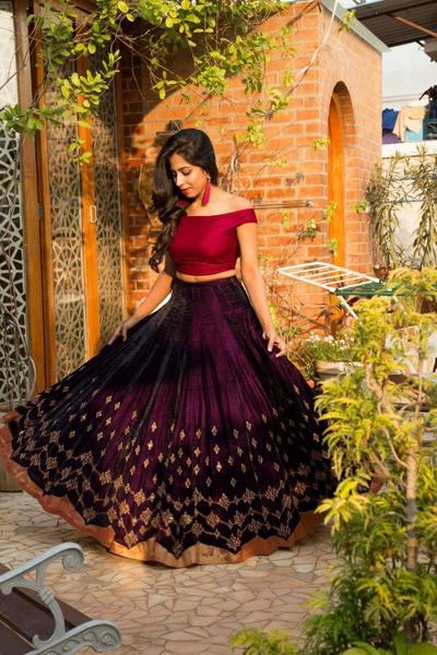 Wine Color Banglori Satin Silk Bollywood Lehenga Choli Online