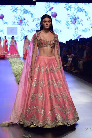 Lovely Pink Banarasi Silk Indian Lehenga Choli For Wedding