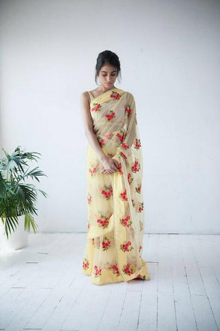 Yellow Pearl Lace Designer Style Saree at Indian Dresses