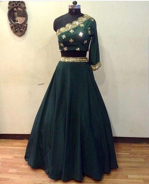 53f1367ab0 Bottle Green Crop Top Online Shopping For Lehengas