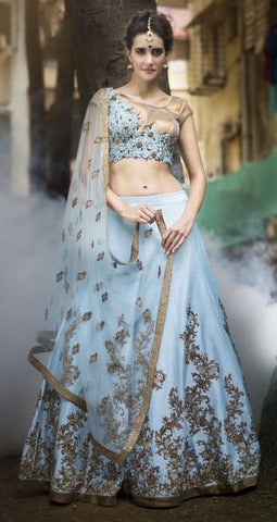 Lovely Sky Blue Silk Wedding Wear Online Lehenga Choli Shopping