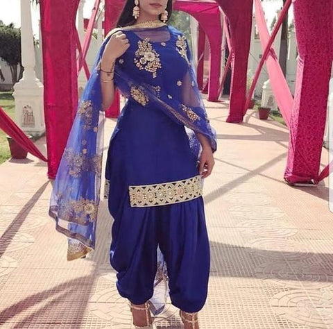 Blue Raw Silk Punjabi Suit Design Indian Online Shop