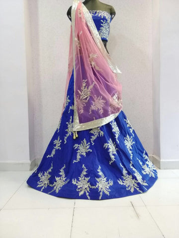 Elegant Blue Art Silk New Lehenga Choli ,Indian Dresses - 2