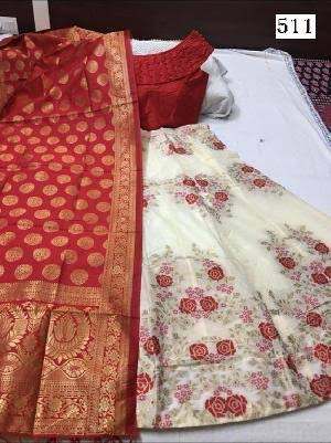 Cream Pink Banarasi Brocade Ladies Lehenga Designs With Price