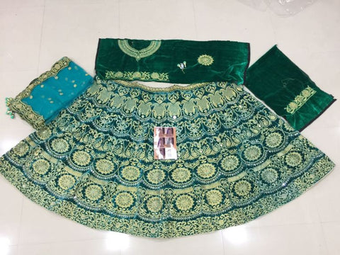 Firozi Blue Velvet Indian Bridal Lehenga Choli
