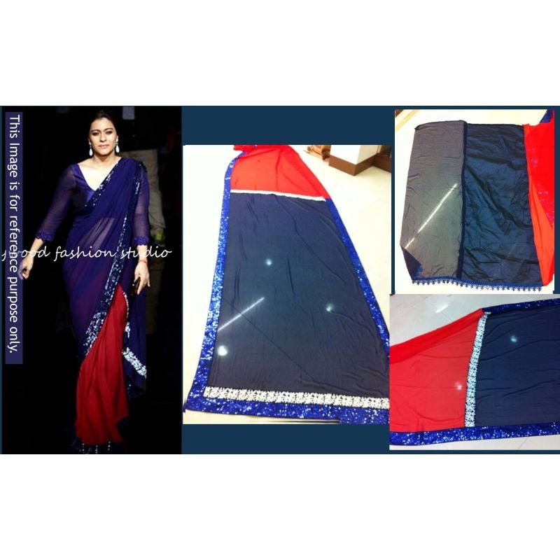 Navy Blue And Red Georgette Kajol Replica Sarees Bollywood ,Indian Dresses - 2