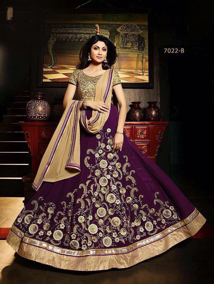 Shilpa Shetty Purple Georgette Anarkali Latest Suits