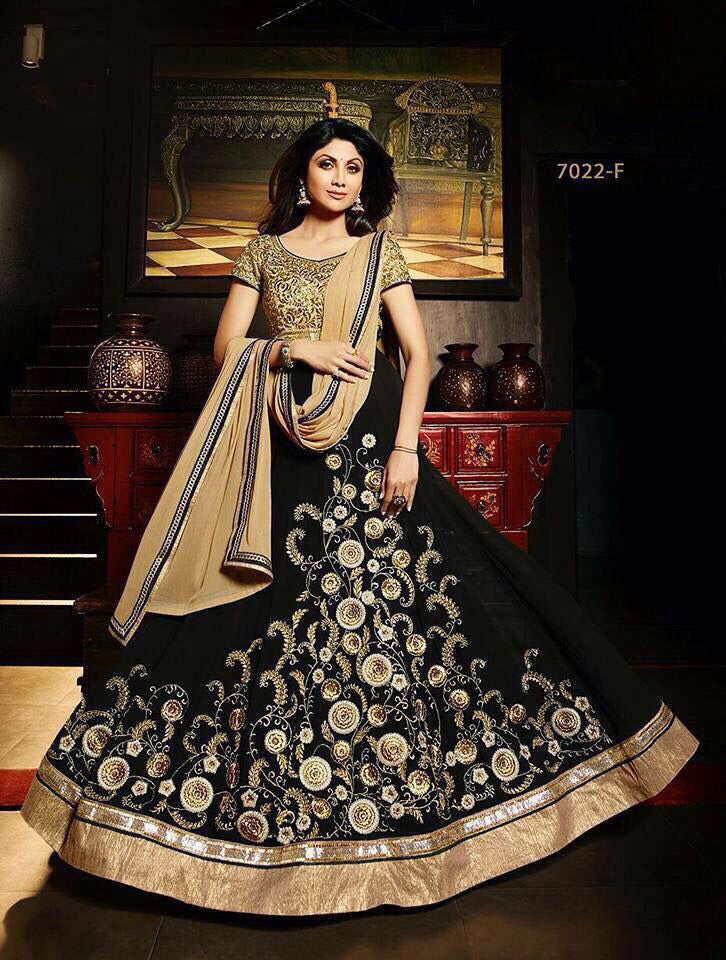 Shilpa Black Georgette Online Anarkali Dresses