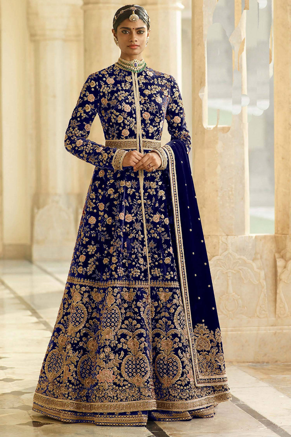 Blue Velvet Embroidered Achkan Style Wedding  Suit Online