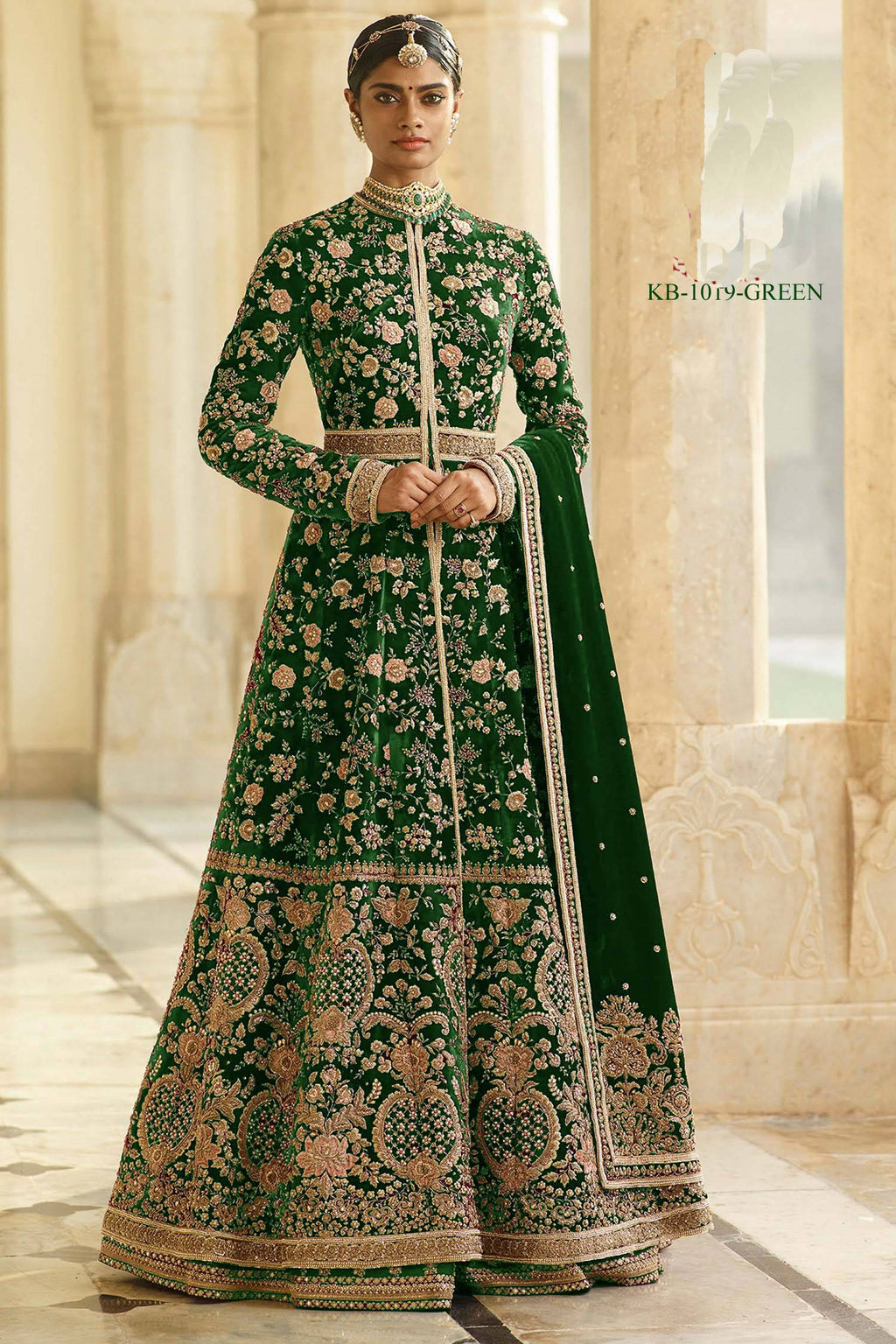 Green Velvet Embroidered Designer Wedding Salwar Kameez