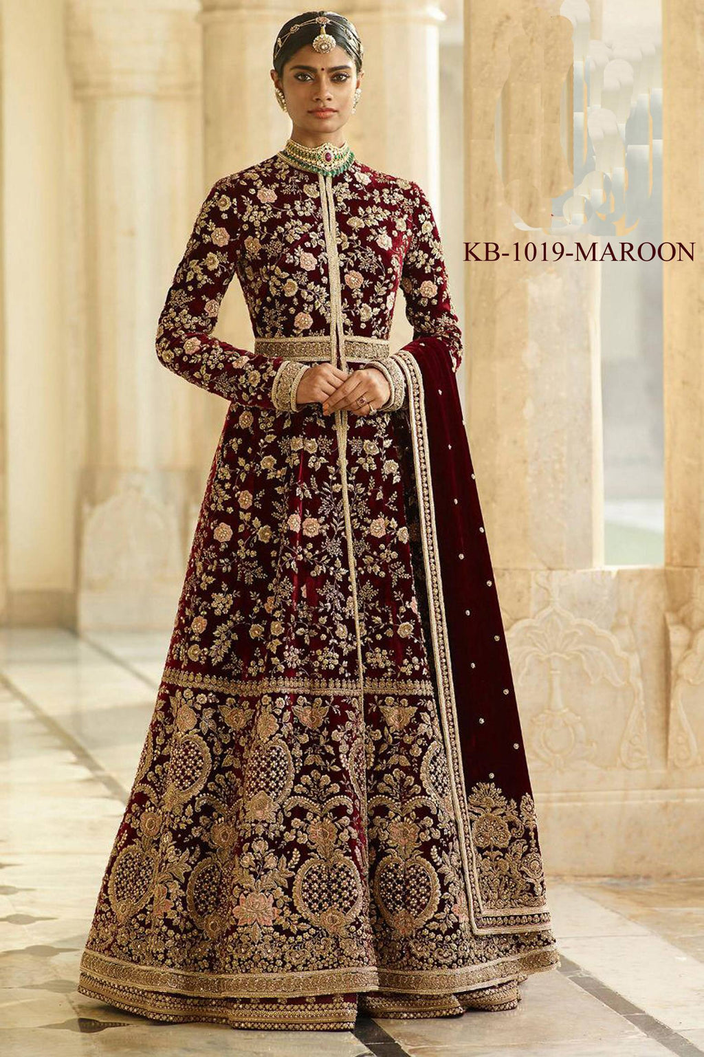 Maroon Velvet Embroidered Latest Designer Suit For Wedding