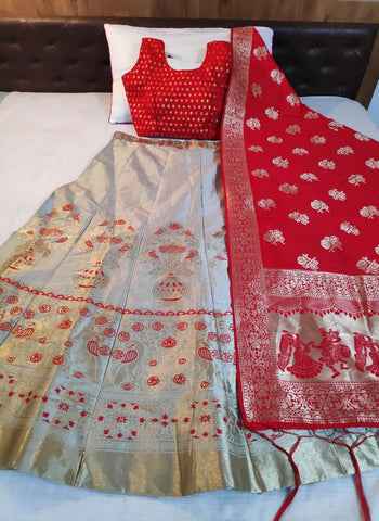Light Grey Banarasi Brocade Online Ghagra Choli Shopping In India