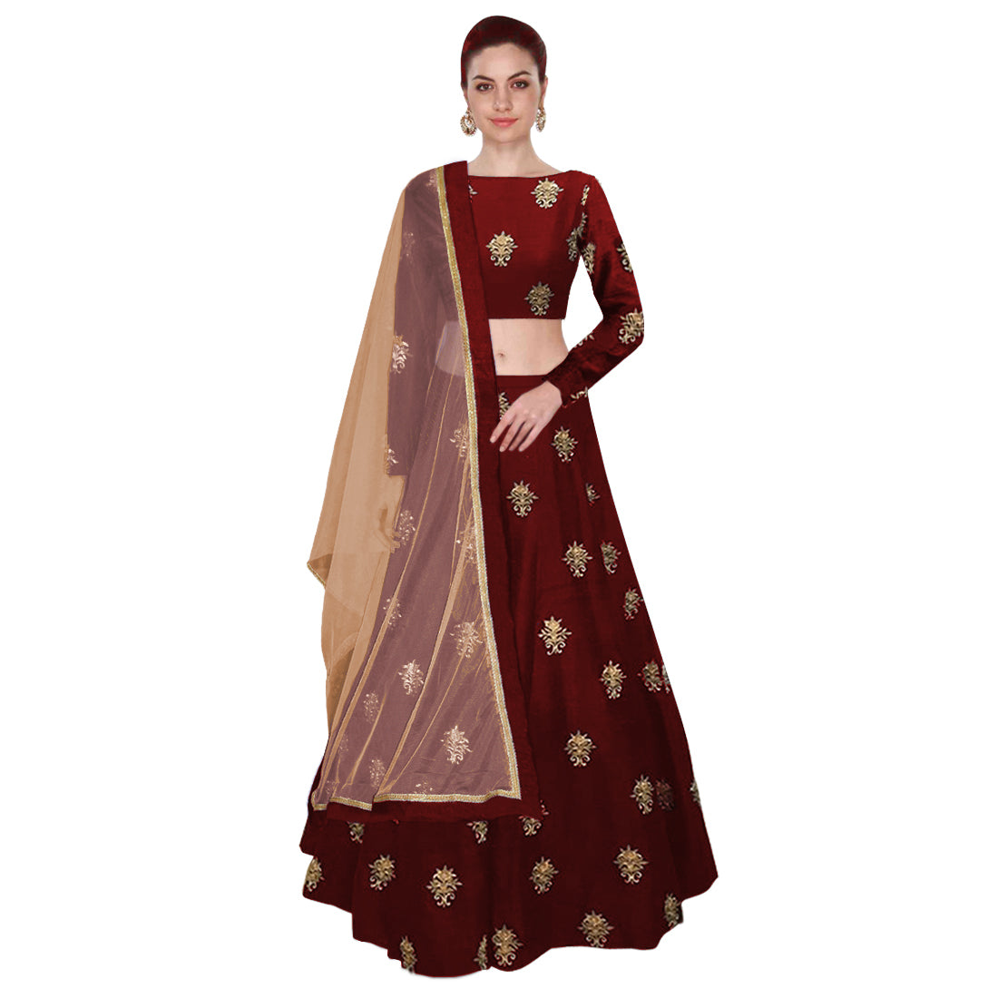 Maroon  Embroidered Bollywood Lehenga Blouse Online Shopping