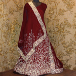 Maroon Embroidered Anarkali Suit Online Buy