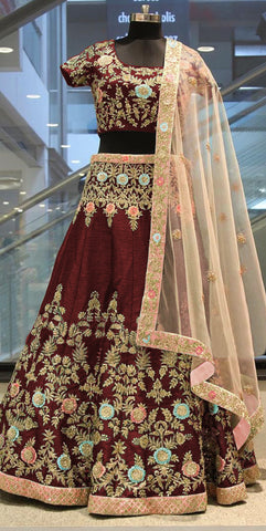Maroon Embroidered Art Silk Bollywood Designer Wedding Lehenga