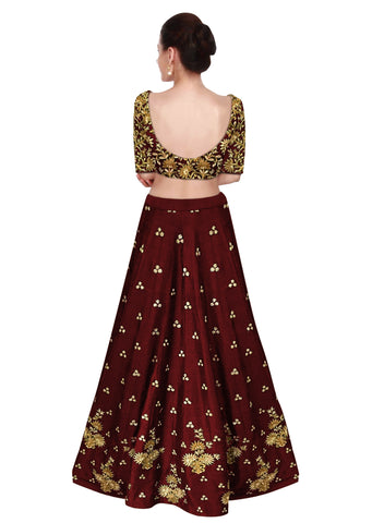 Beautiful Maroon Embroidery Lehengas Online Shopping India