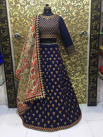 Dark Blue Banglori Silk Embroidery Lehenga Bollywood Dress Online