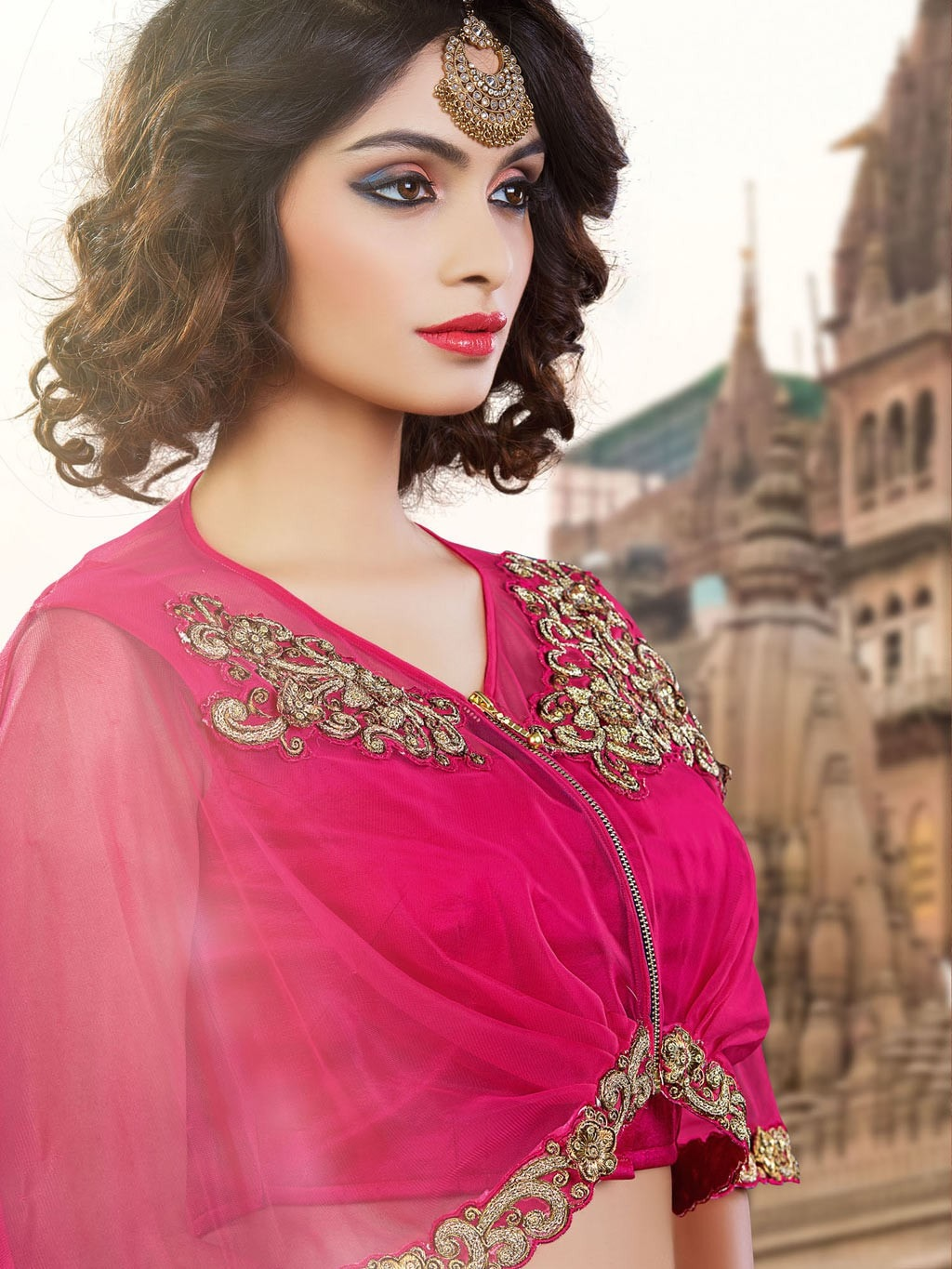 Hot Pink Embroidered Lehenga Choli With Capelet ,Indian Dresses - 2