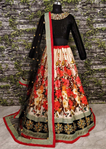 Anushka Multi Color  Digital Floral Print Beautiful Lehenga Dress Online