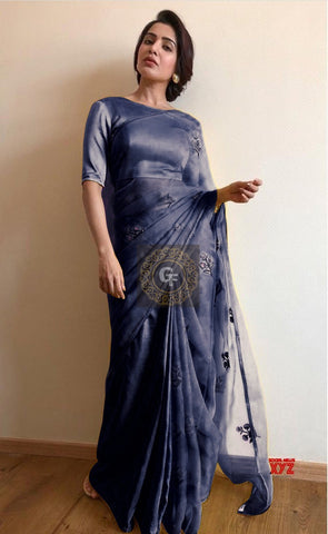 Navy Blue Organza Embroidered New Indian Saree Online