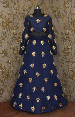 Tantalizing Navy Blue Bollywood Lehenga Choli With Price