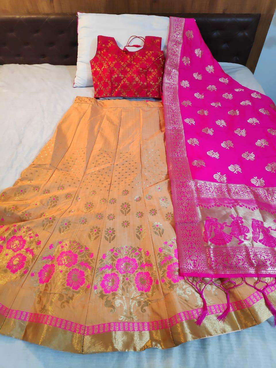 Peach Banarasi Brocade Online Shopping For Ghagra Choli