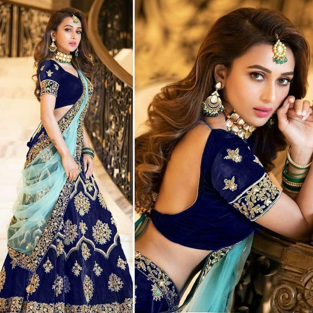 Blue Velvet Embroidered Party Wear Low Price Lehengas