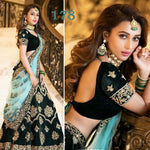 Deep Green Velvet Embroidered Party Lehenga Choli Online