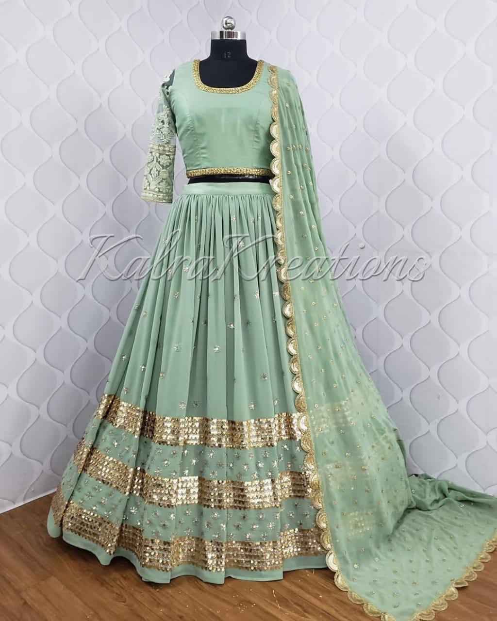 Sage Green Georgette Party Wear Lehenga Choli Indian Dress