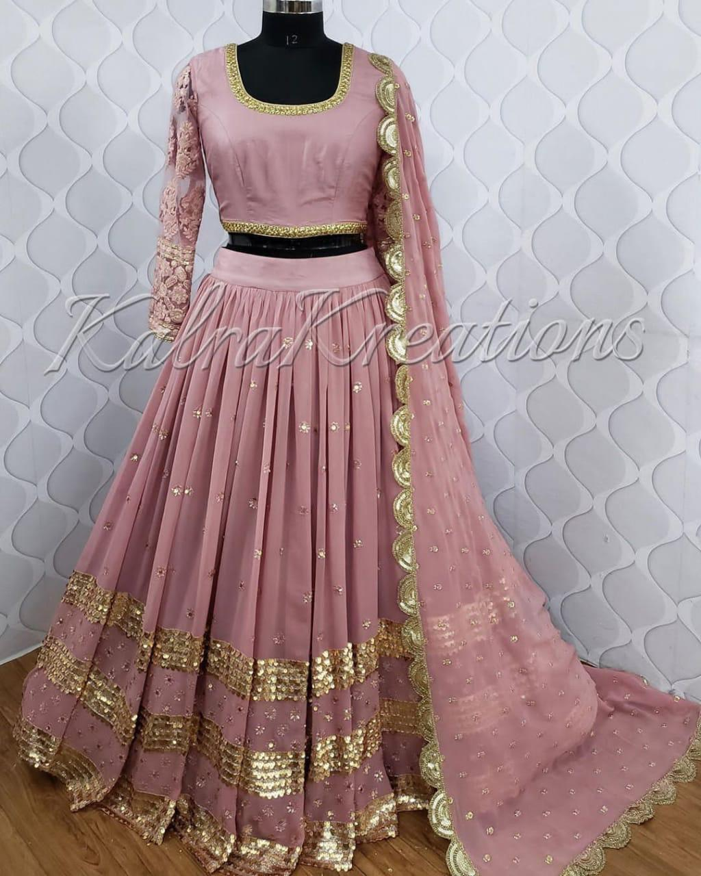 Misty Rose Georgette Party Lehenga Choli Online Shopping