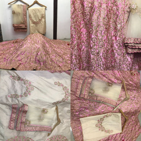 Light Pink Embroidery Malai Satin Bollywood Online Shopping Of Bridal Lehengas