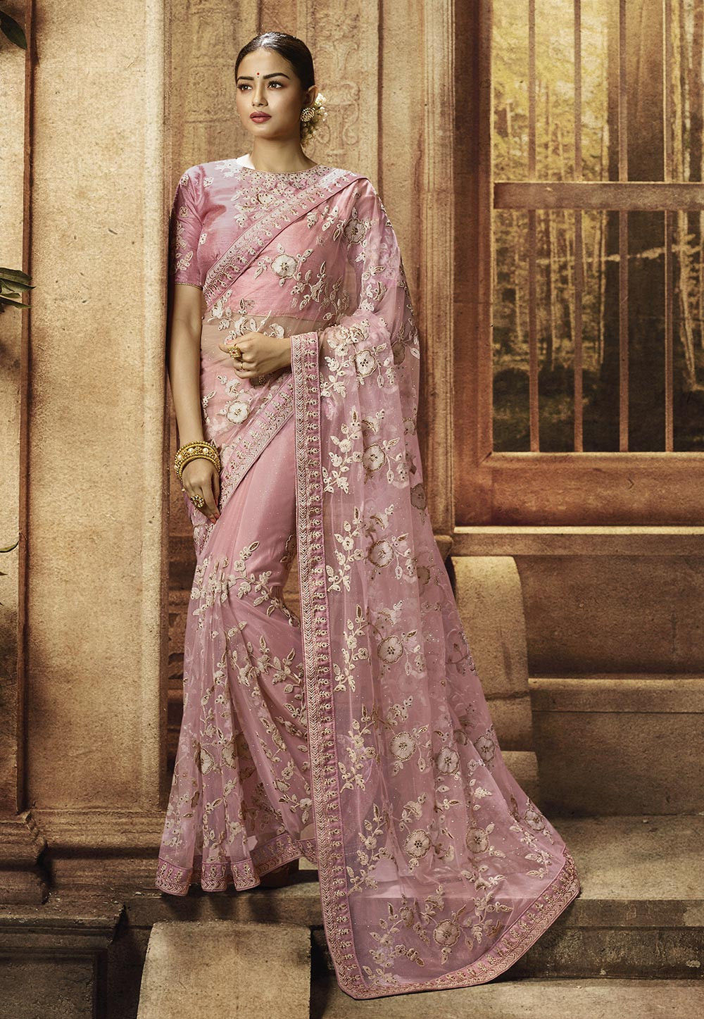 Pink Embroidered Beautiful Party Saree Designs Online Shop