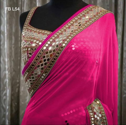 Pink Georgette Mirror Work Latest Fashion Party Wear Sarees