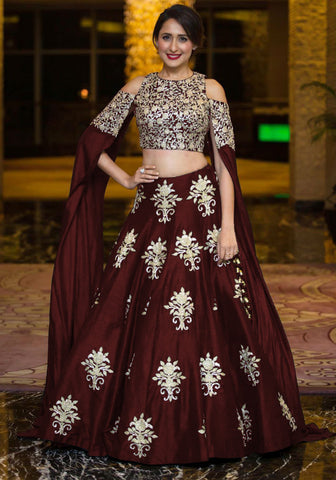 Deep Maroon Bollywood Lengha Choli Fashion Dress