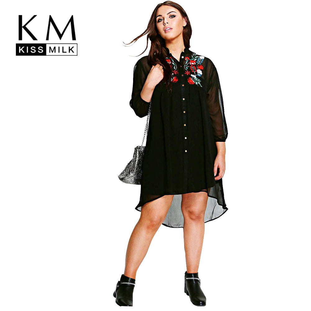 Kissmilk Women Plus Size Vintage Rose Embroidery High Low Shirt Dress Long Sleeve Chiffon Big Size Party Dress 3XL 4XL 5XL 6XL