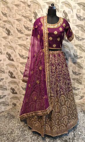 Wine Color Ruby Silk Latest Bollywood Lengha Choli