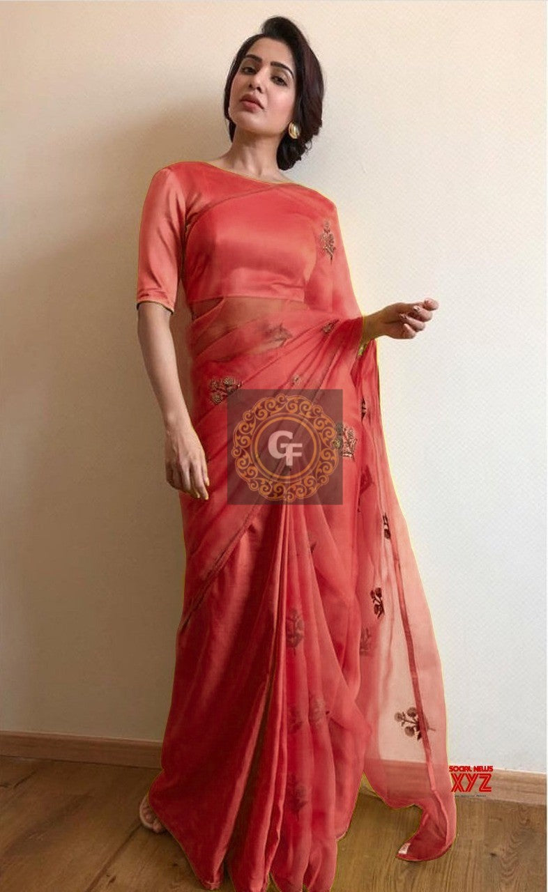 Maroon Organza Embroidered Lovely Indian Dress Saree Online