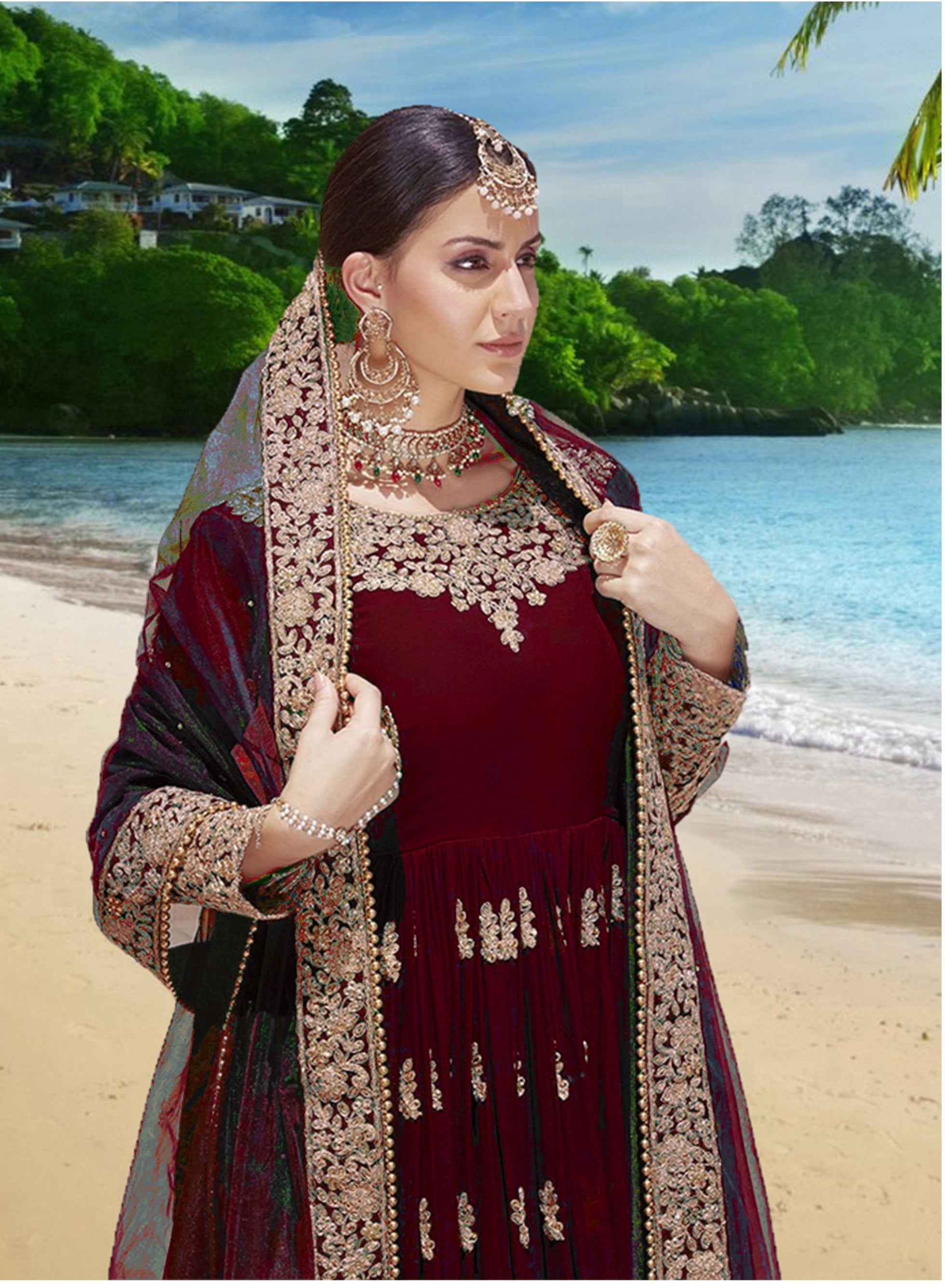 Red Abaya Embroidered Georgette Anarkali Dresses Online India