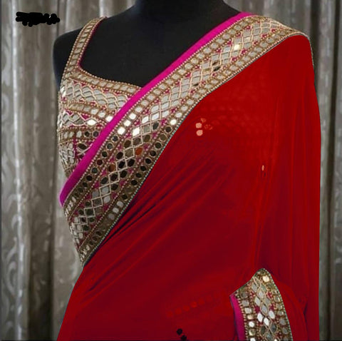 Red Georgette Mirror Work Bollywood Wedding Sarees Online